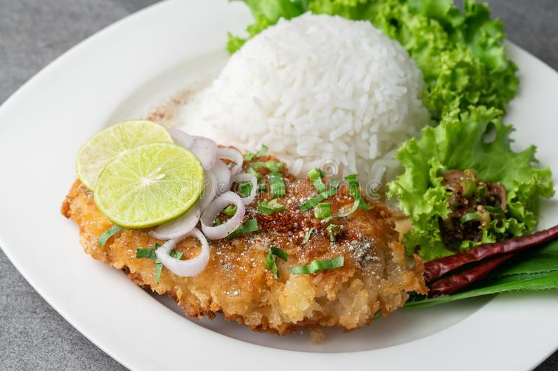 Spicy salad with fried chicken and rice in white dish on table royalty free stock image