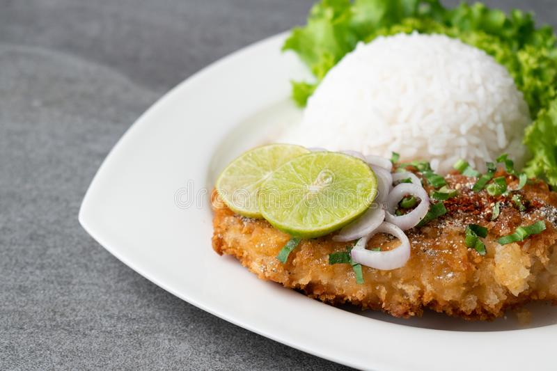 Spicy salad with fried chicken and rice in white dish on table royalty free stock photos