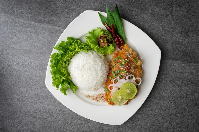 Spicy salad with fried chicken and rice in white dish on table stock image