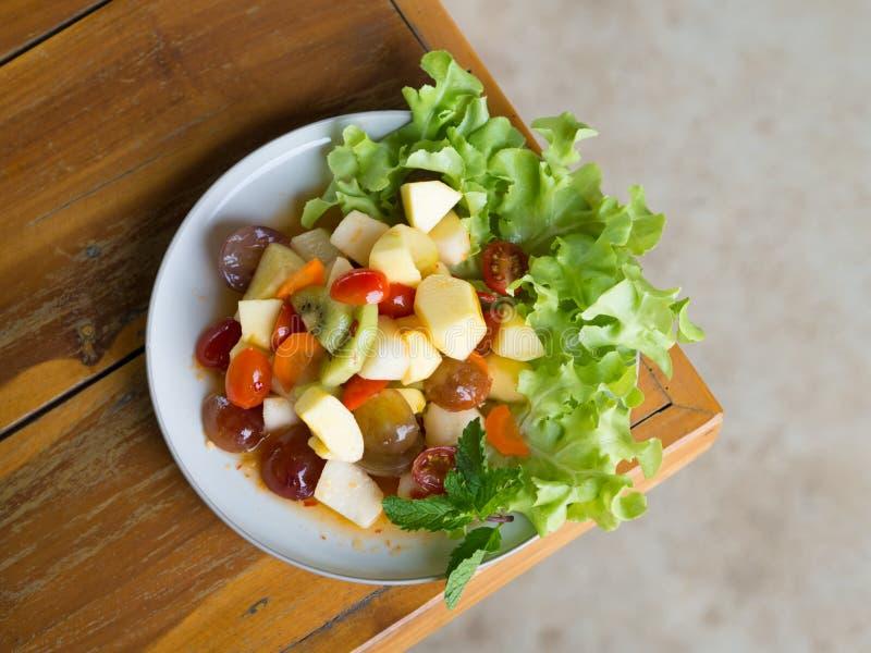 Spicy salad mixed fruit royalty free stock photos