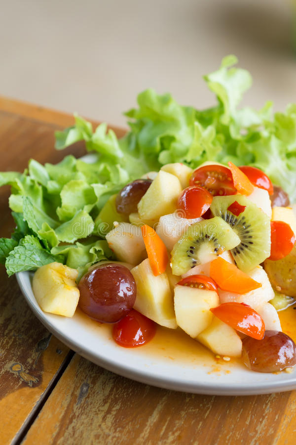 Spicy salad mixed fruit royalty free stock image