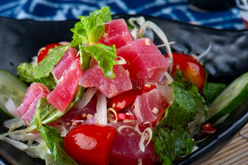 Spicy salad tuna in Thai style. stock images