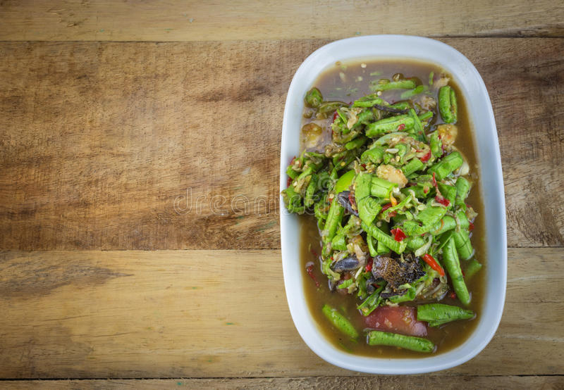 Spicy salad yardlong bean royalty free stock images