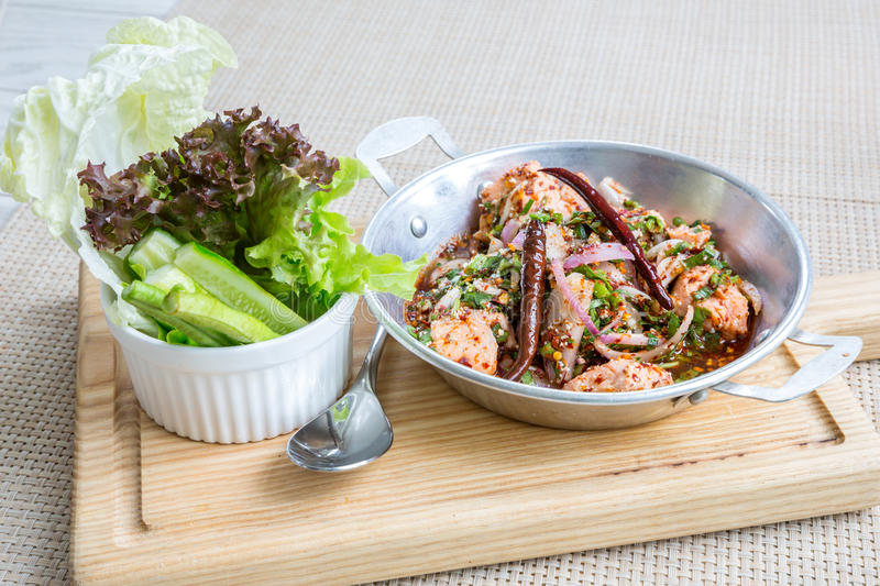 Spicy Salmon salad stock images