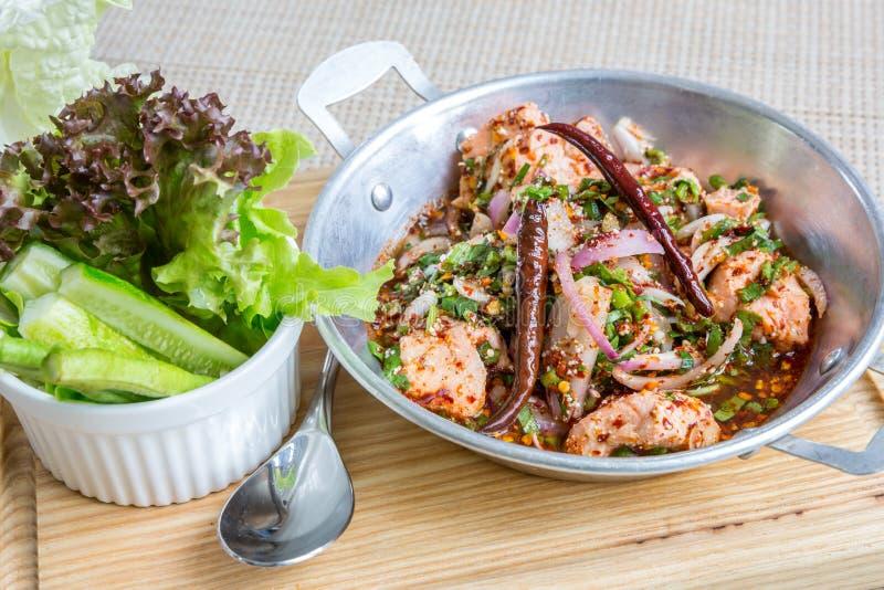 Spicy Salmon salad stock photo