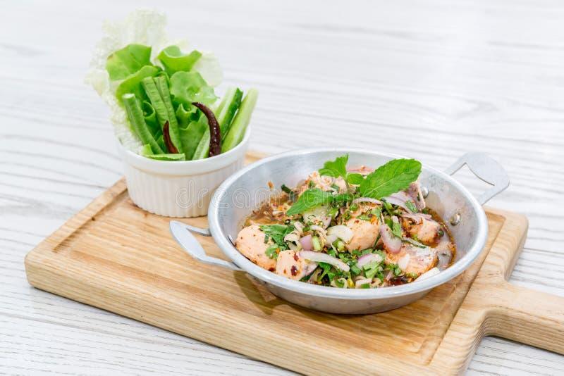 Spicy Salmon salad royalty free stock photo