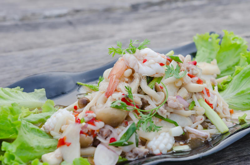 Spicy seafood salad. Spicy salad , shrimp and mix vegetable , asian food stock photo