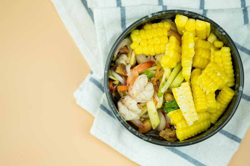 Spicy shrimp and corn salad royalty free stock images