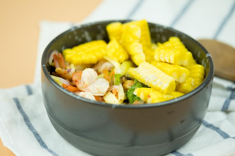 Spicy shrimp and corn salad royalty free stock photo