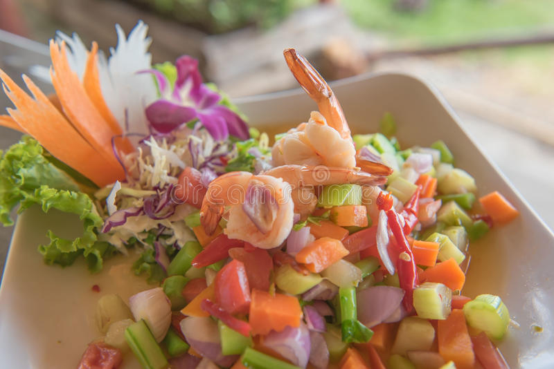 Spicy shrimp and mix vegetable salad , thai food. royalty free stock photo
