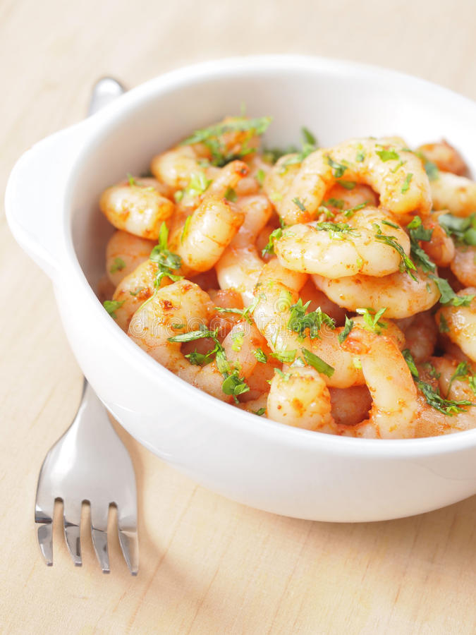 Spicy shrimps stock photography