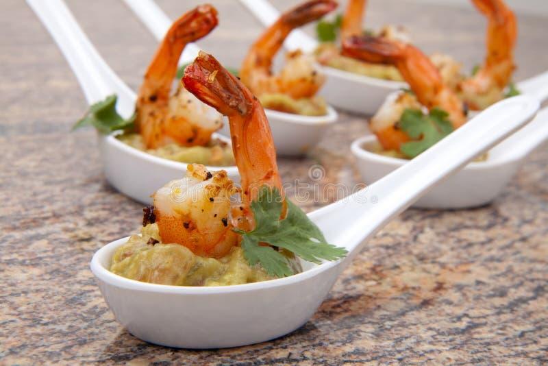 Spicy Shrimps Guacamole stock images