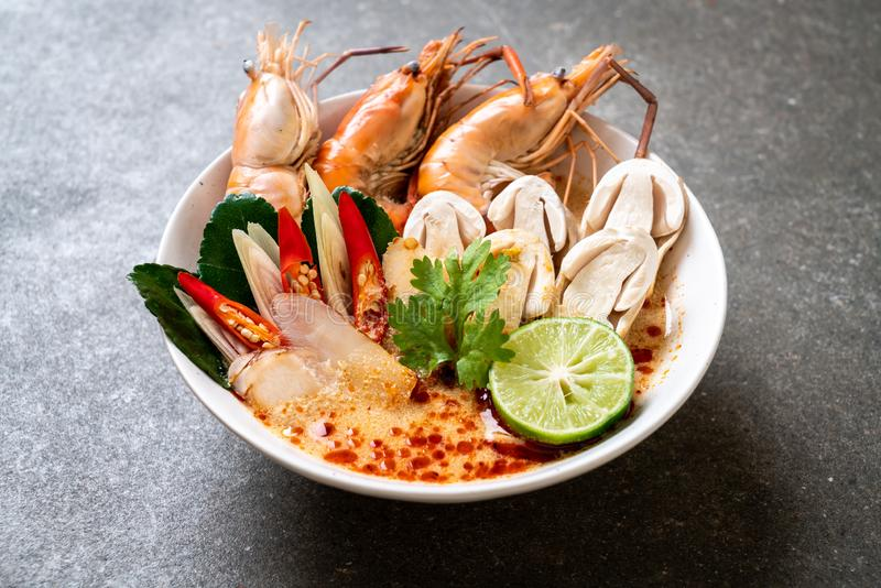 Spicy shrimps soup (Tom Yum Goong. ) - Thai Traditional Food stock photo