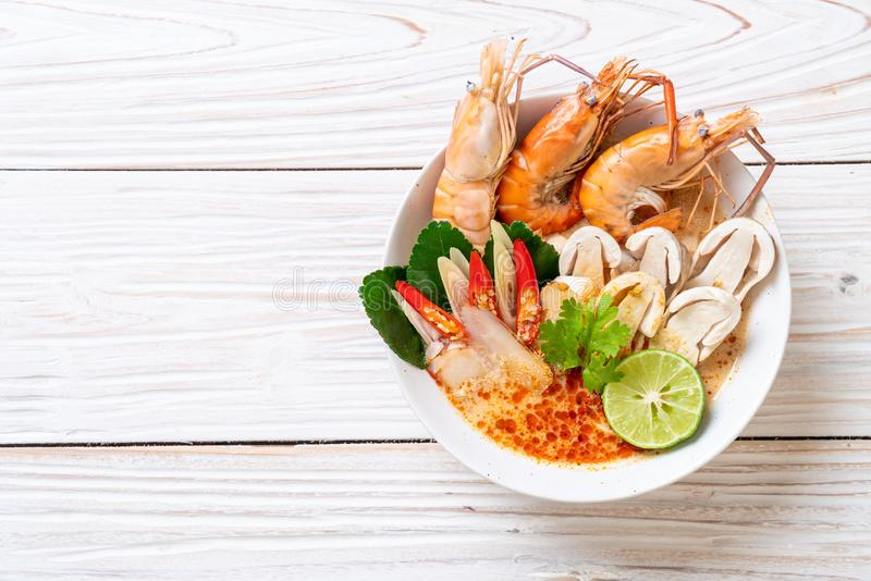 Spicy shrimps soup (Tom Yum Goong. ) - Thai Traditional Food royalty free stock photo