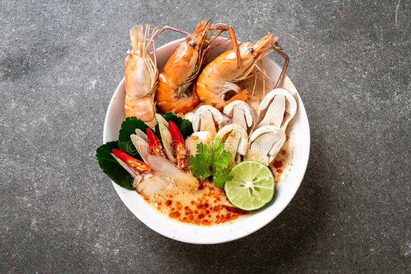 Spicy shrimps soup (Tom Yum Goong. ) - Thai Traditional Food royalty free stock image