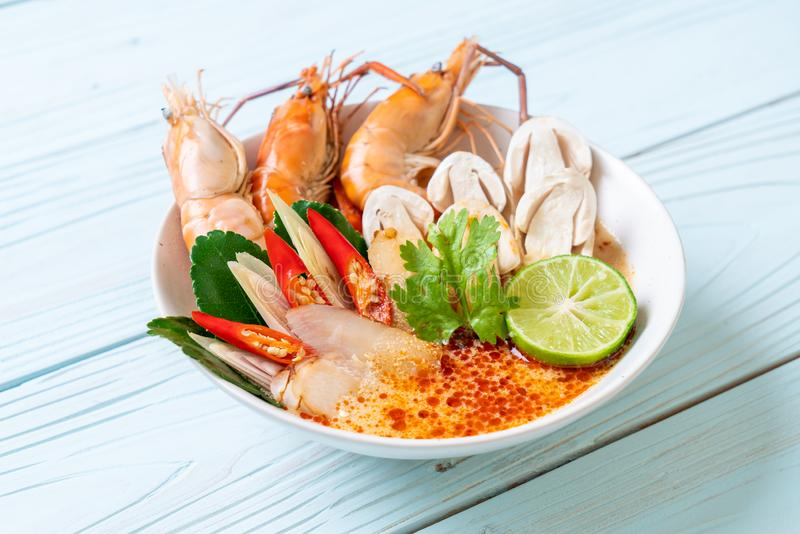 Spicy shrimps soup (Tom Yum Goong. ) - Thai Traditional Food stock photos