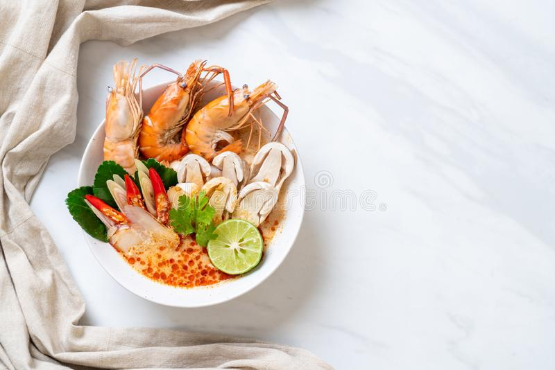 Spicy shrimps soup (Tom Yum Goong. ) - Thai Traditional Food stock images