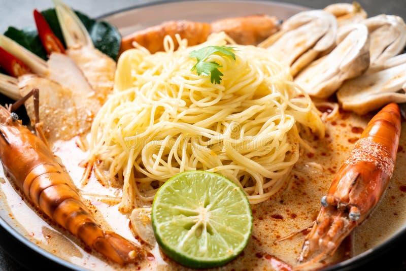 Spicy shrimps spaghetti pasta (Tom Yum Goong. ) - Italian fusion food style royalty free stock photography