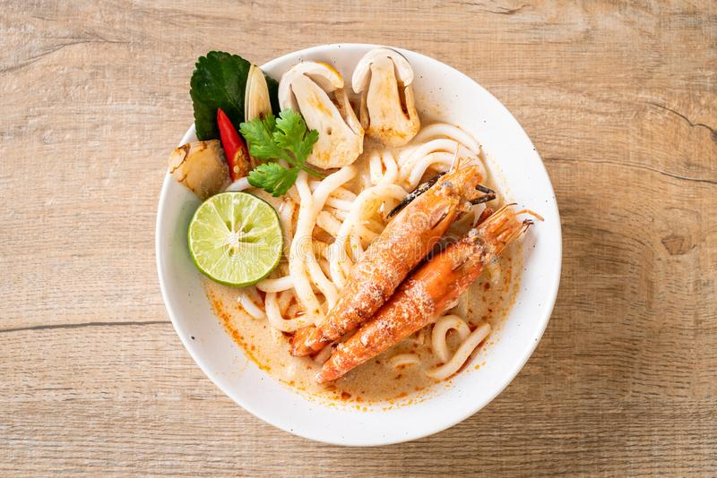 spicy shrimps udon ramen noodle (Tom Yum Goong stock photo