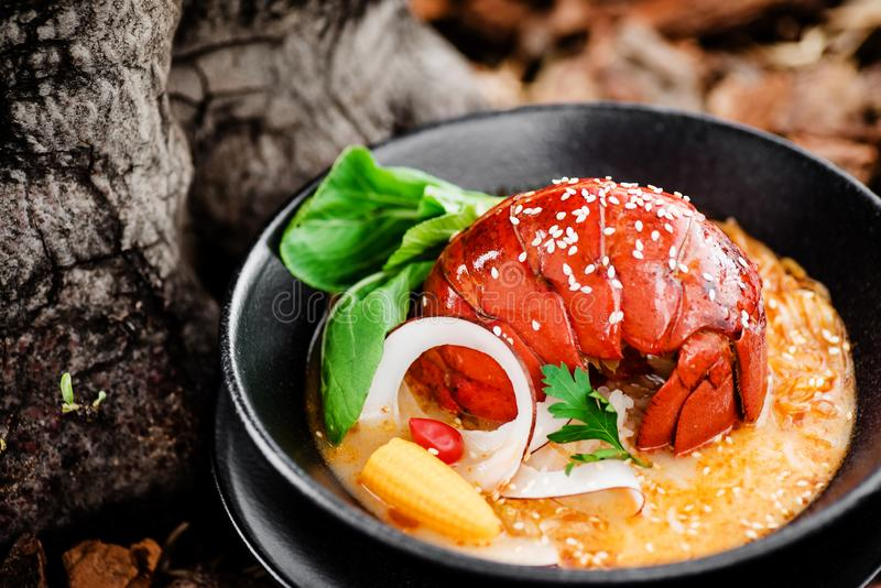 Spicy Soup with lobster tail, pak choi cabbage, vegetables and sesame in a black plate. Close-up. Beautiful serving of gourmet seafood dishes royalty free stock photo