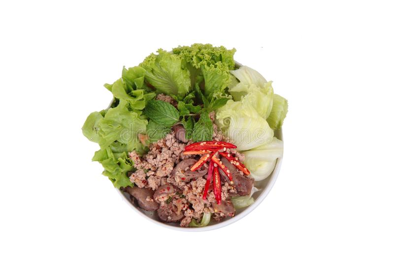 Spicy and sour mixed herb salad with minced pork and chicken. Popular Thai food ,Sliced grilled beef salad ,Spicy and sour mixed herb salad with minced pork and stock photo