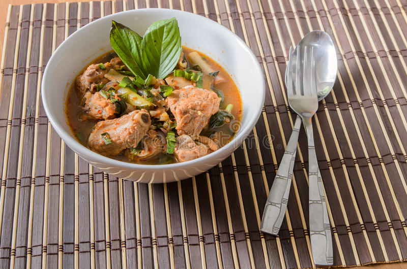 Spicy and Sour pork spare rib soup in thai style stock image
