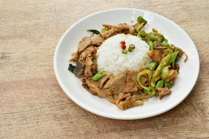 Spicy stir fried duck meat curry on rice in plate stock image