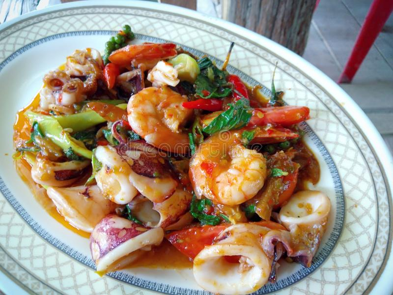Spicy stir fried seafood with pepper and chili. Spicy   seafood with  and, thai, thaifood, fooddrink royalty free stock photo