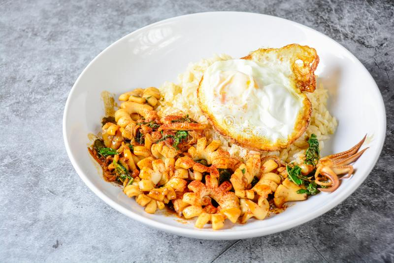 Spicy stir fried squid with basil leaves and chili, Sunny side up egg stock photos