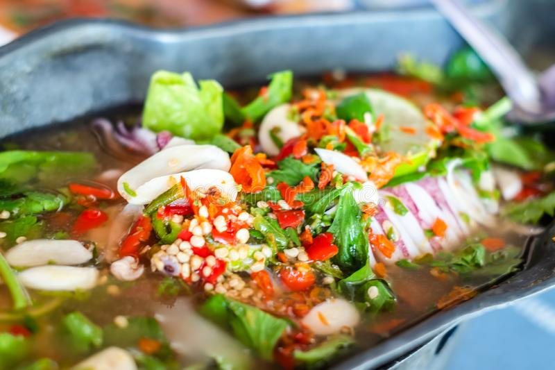 Spicy Seafood hot pot Spicy taste stock image