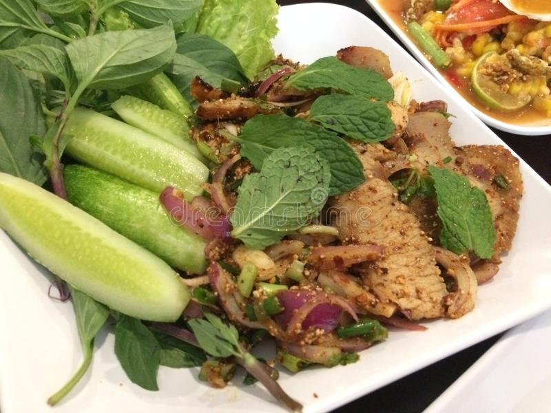 Spicy thai food made from beef stock image