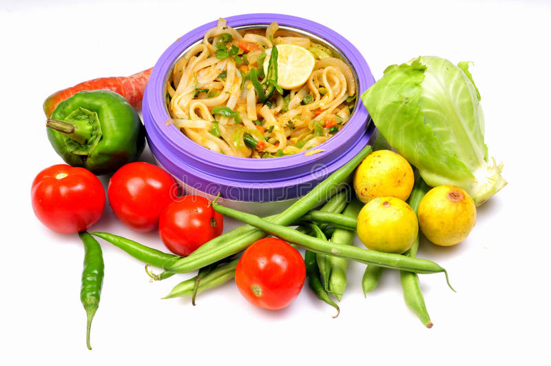Spicy thai noodles royalty free stock photos