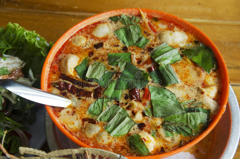 Spicy thai sour seafood soup recipe or tom yum talay royalty free stock photography