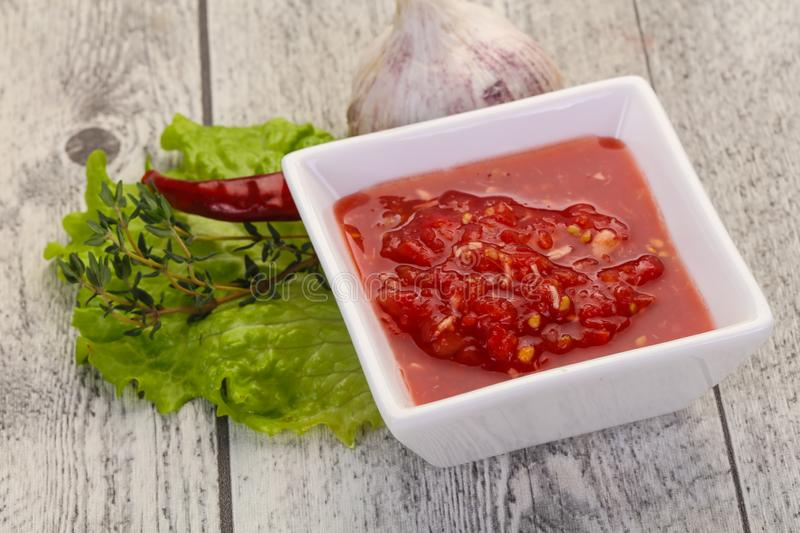 Spicy tomato and garlic sauce royalty free stock images
