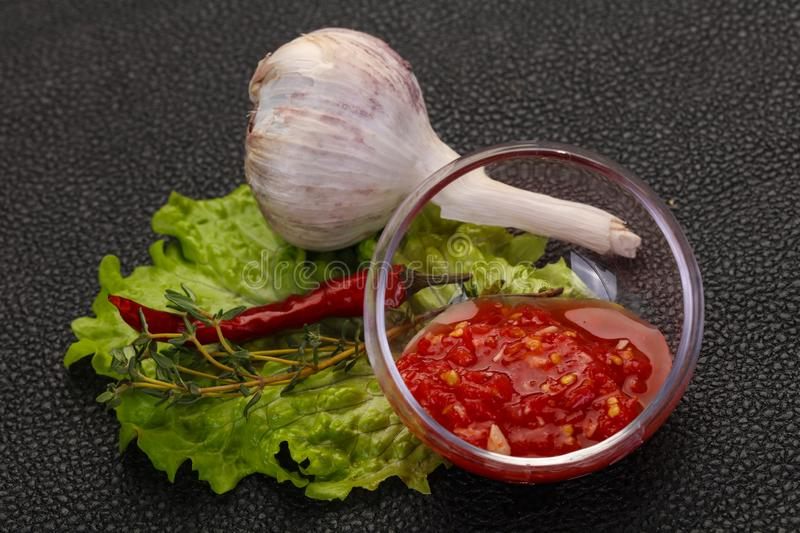 Spicy tomato and garlic sauce. Spicy tomato, horse radish and garlic sauce stock images