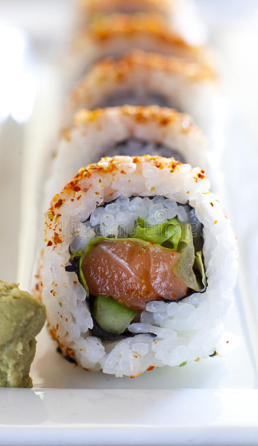 Spicy tuna roll sushi royalty free stock images