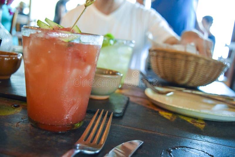Spicy vattenmelon margarita arkivfoton