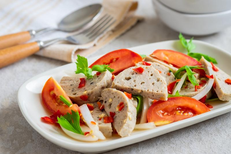 Spicy vietnamese pork sausage salad Yum Moo Yor, Thai food royalty free stock image