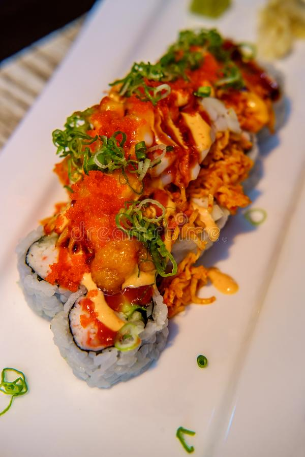 Spicy Volcano Sushi Roll stock photography