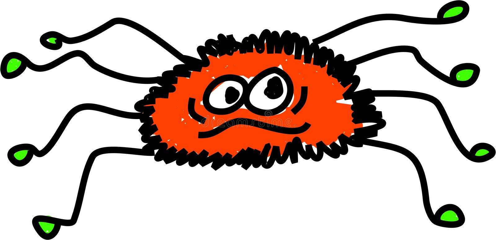 Spider. Cartoon hairy spider isolated on white drawn in toddler art style stock illustration