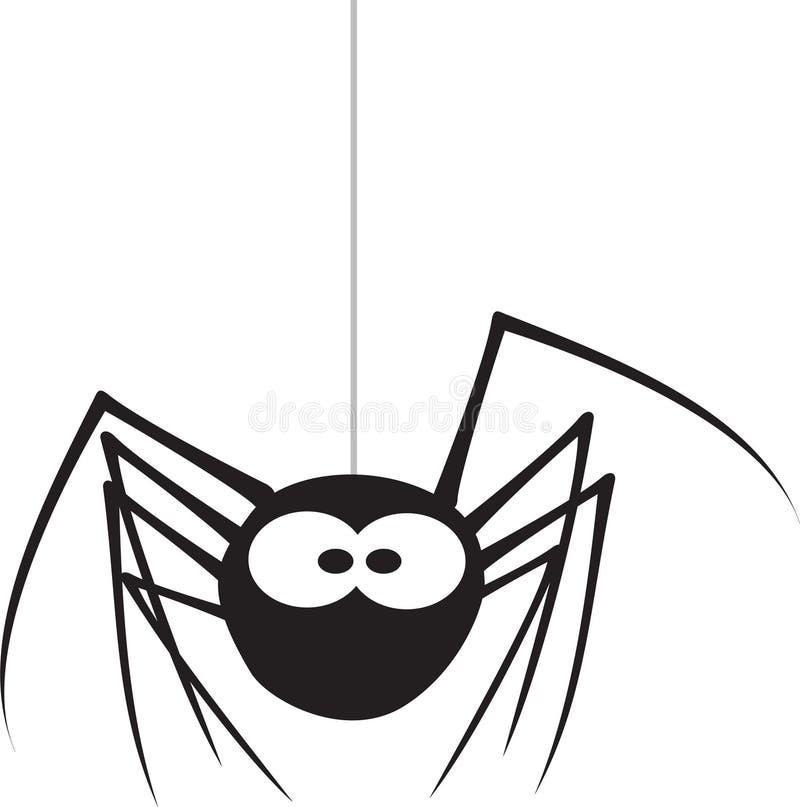 Spider. Cartoon  hangs on a web vector illustration