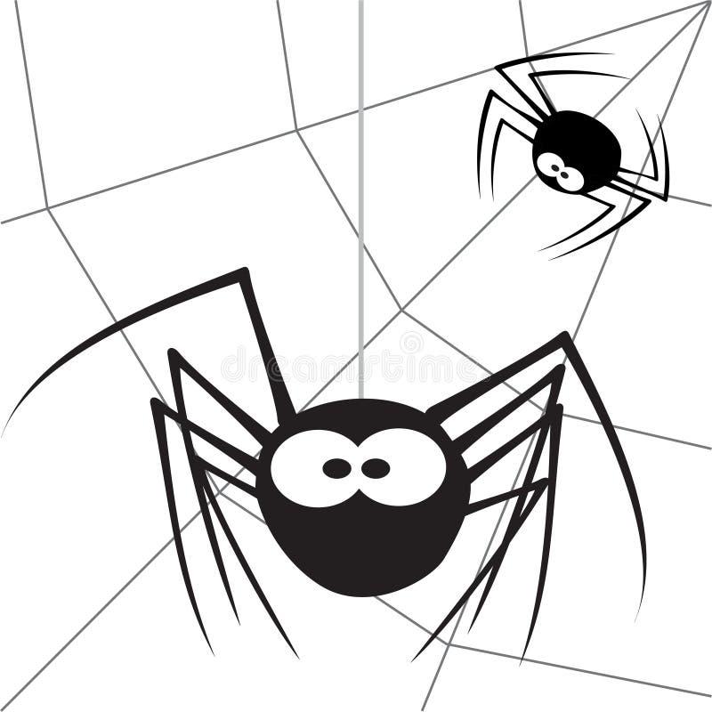Spider - 5. Cartoon spider hangs on a web vector illustration