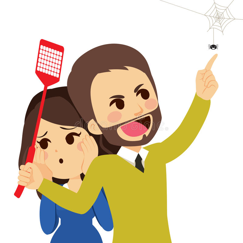Spider Attack. Young brave man defending scared woman from spider attack vector illustration