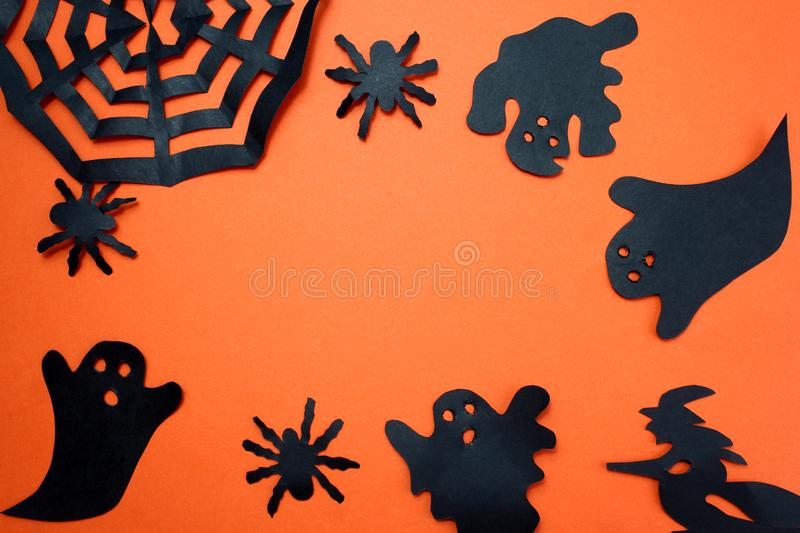 Spider, bats, ghosts. Design for festive decoration. Halloween holiday mood. Halloween, creature, autumn, background picture, bats, black, character,, schematic royalty free stock photos