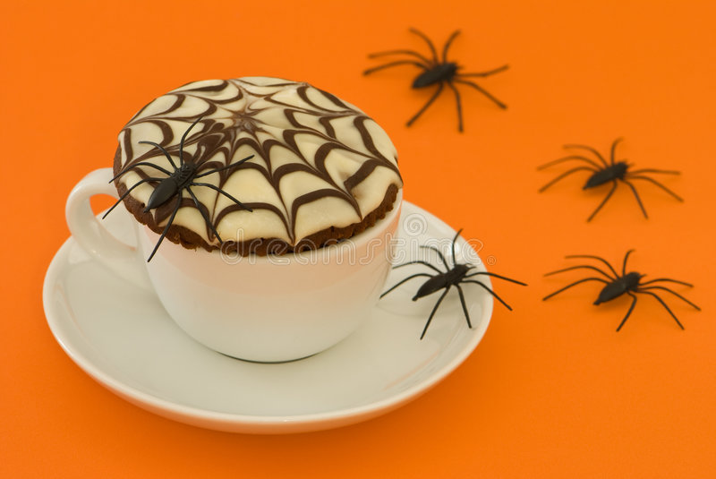 Spider Cup Cake royalty free stock photos