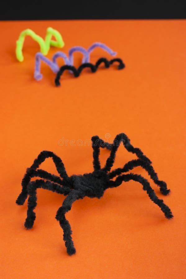 Free Spider For Halloween Craft, Black On Orange. Royalty Free Stock Photos - 33745348