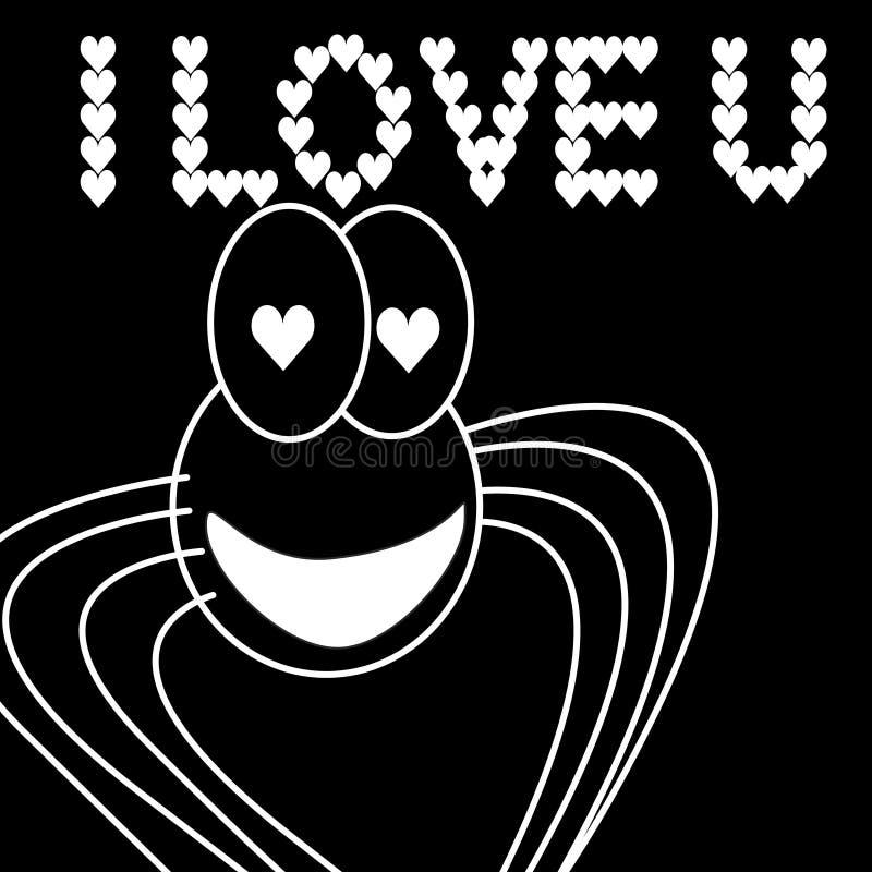 Spider in love 3 vector illustration