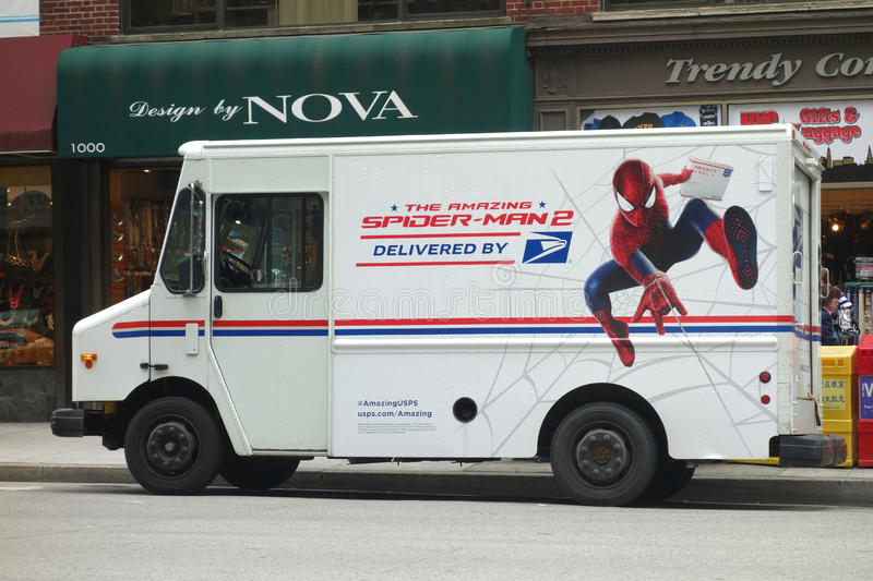 Spider-Man e o serviço postal dos E.U. fotografia de stock