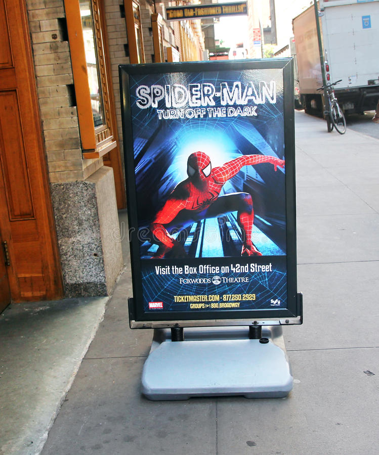 Spider-Man em Broadway. fotografia de stock royalty free