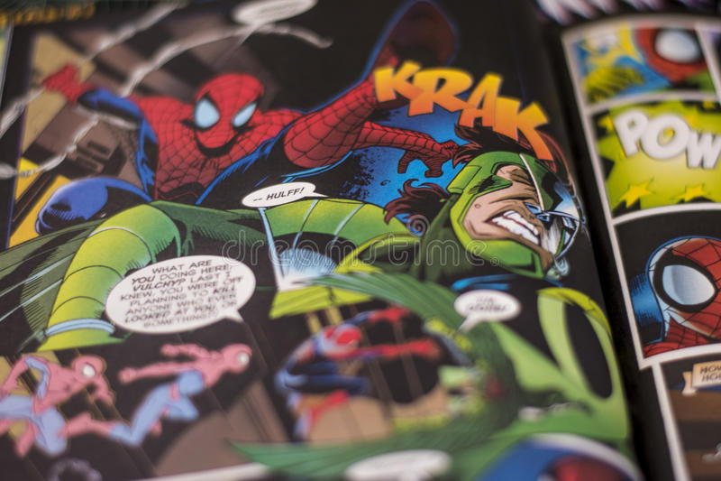 Spider-Man-superhero van de Wonderstrippagina